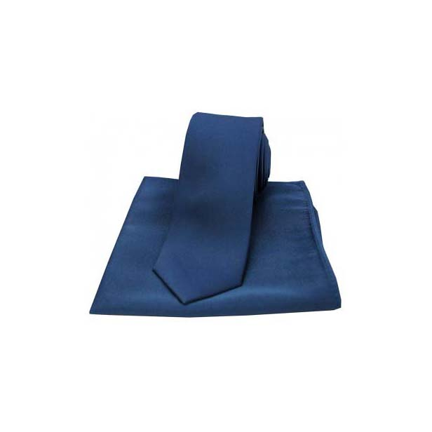 Navy Satin Silk Matching Thin Tie and Pocket Square