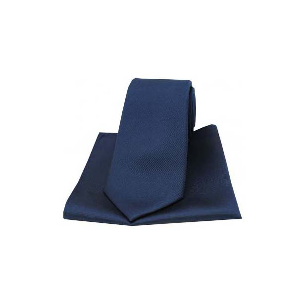 Navy Diagonal Ribbed Plain Silk Matching Tie and Pocket Square