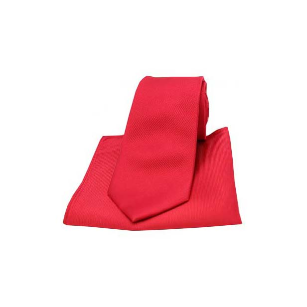Red Diagonal Ribbed Plain Silk Matching Tie and Pocket Square