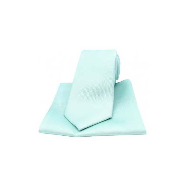 Cyan Diagonal Ribbed Plain Silk Matching Tie and Pocket Square