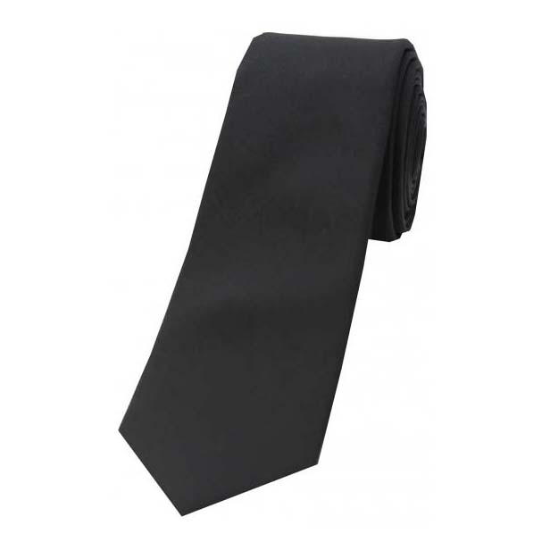Jet Black Tonic Thin Silk Tie