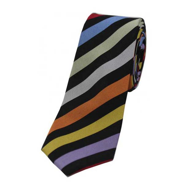 Multi Coloured Striped Thin Silk Tie
