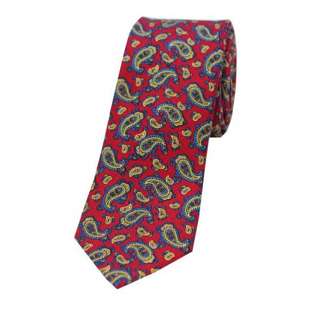 Edwardian Small Red Paisley Thin Silk Tie