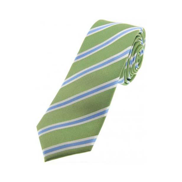 Mint Green and Sky Blue Silk Striped Thin Silk Tie