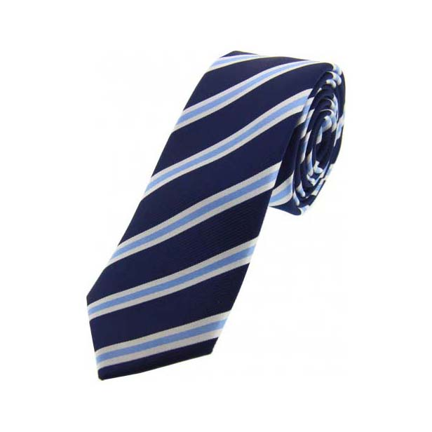 Navy and Sky Blue Silk Striped Thin Silk Tie