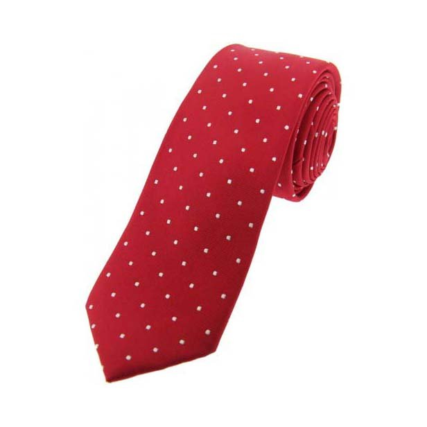 Red and White Pin Dot Thin Silk Tie