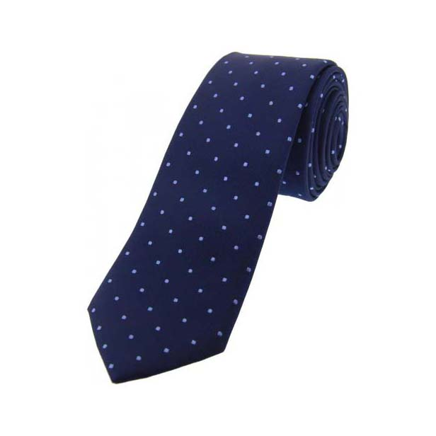 Blue and Lilac Pin Dot Thin Silk Tie