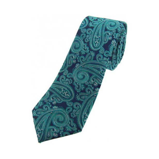 Teal and Blue Paisley Thin Silk Tie