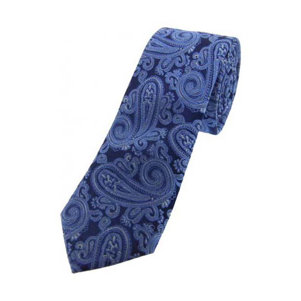 Blue and Navy Paisley Thin Silk Tie