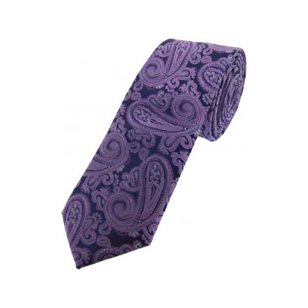 Purple and Navy Paisley Thin Silk Tie