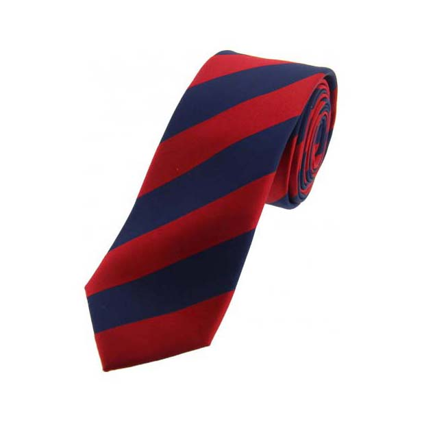 Navy and Red Striped Thin Silk Tie