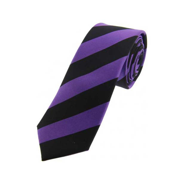Purple and Black Striped Thin Silk Tie