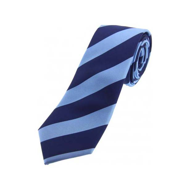 Petrol Blue and Navy Striped Thin Silk Tie