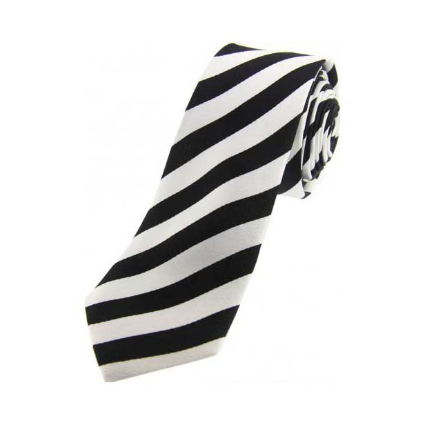 Black and White Striped Thin Silk Tie