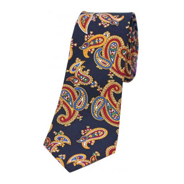 Edwardian Blue Paisley Thin Silk Tie