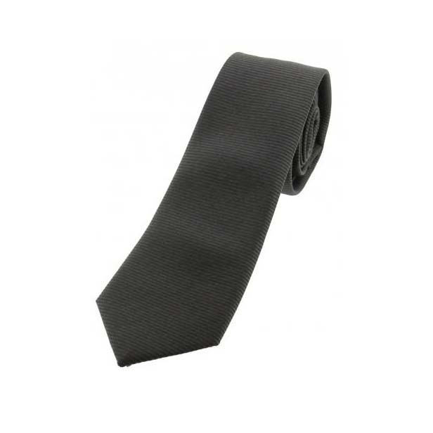 Charcoal Plain Thin Polyester Tie