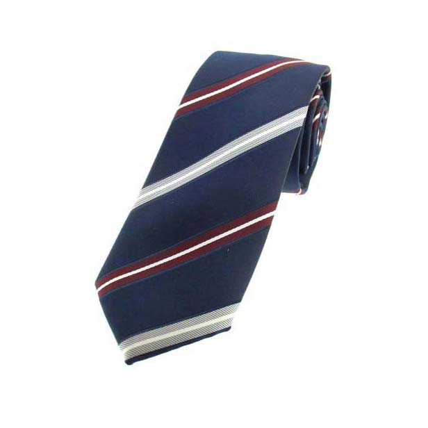 Navy Striped Thin Polyester Tie