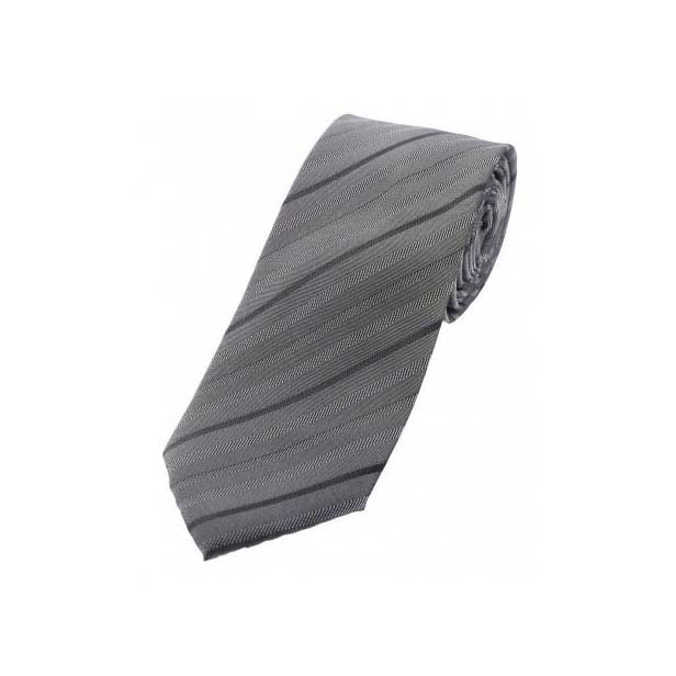 Grey Striped Thin Polyester Tie