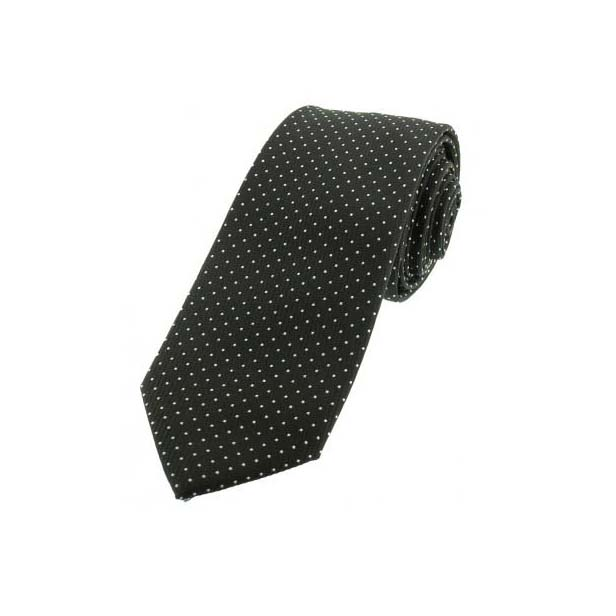 Black and White Pin Dot Thin Polyester Tie