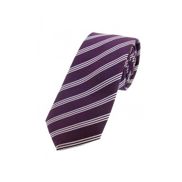 Purple Striped Thin Polyester Tie