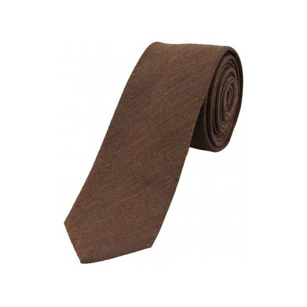 Plain Chocolate Brown Wool Rich Thin Tie