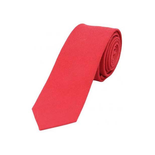 Plain Red Wool Rich Thin Tie