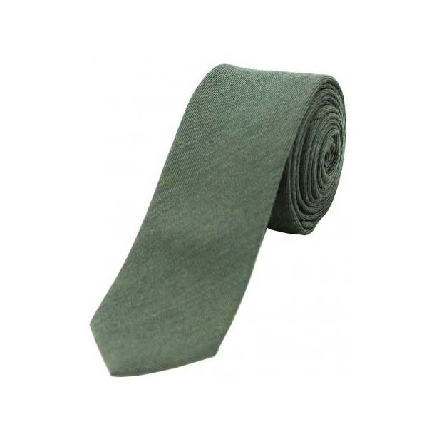 Plain Country Green Wool Rich Thin Tie