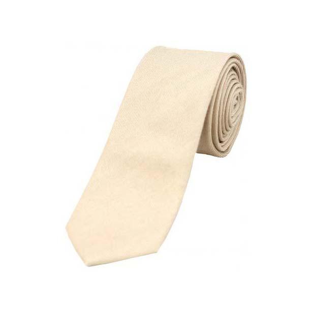 Plain Ivory Wool Rich Thin Tie