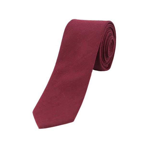 Plain Wine Wool Rich Thin Tie