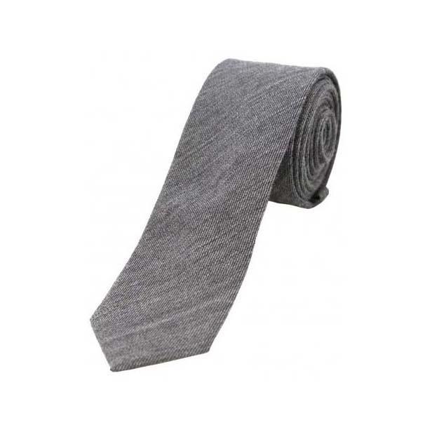 Plain Grey Wool Rich Thin Tie