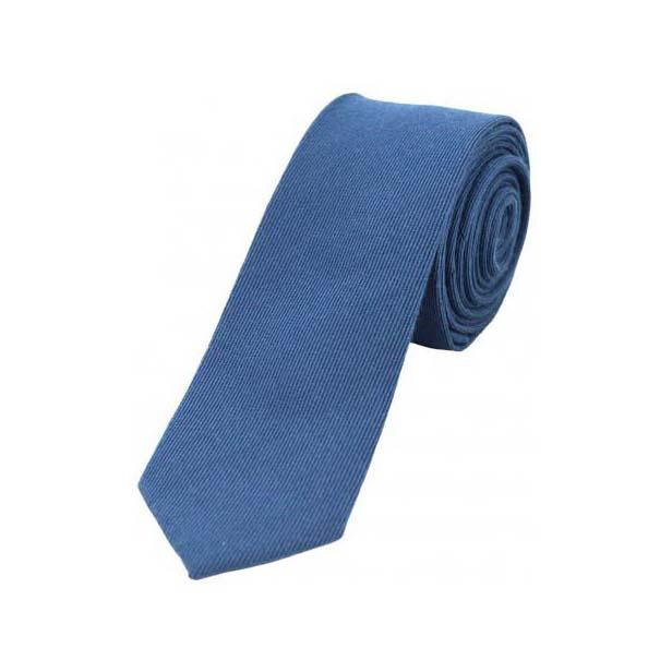 Plain Blue Wool Rich Thin Tie