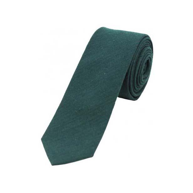 Plain Dark Green Wool Rich Thin Tie