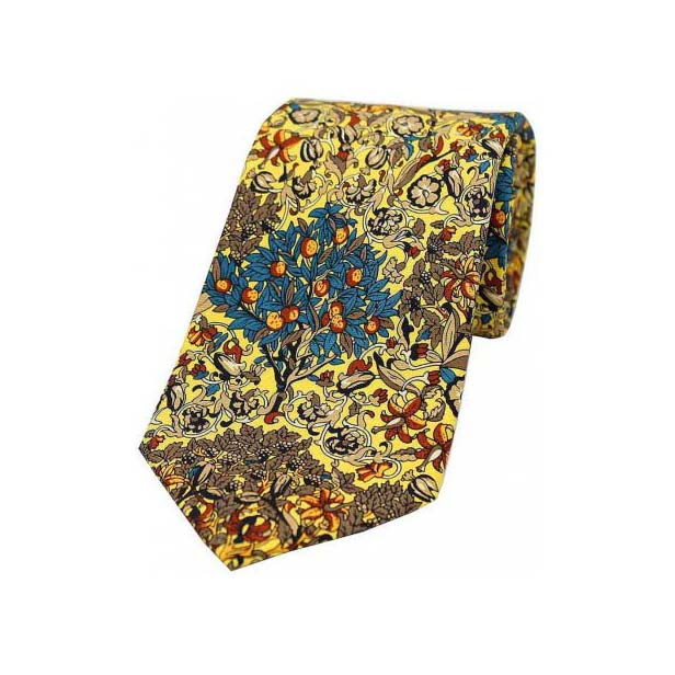 Yellow Mix Trees and Leaves Luxury Silk Tie