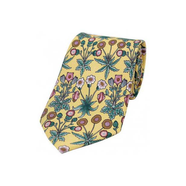 Yellow Base with Multi Coloured Flowers Luxury Silk Tie