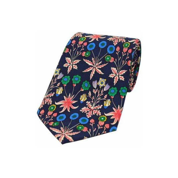Multi Coloured with Flowers Luxury Silk Tie