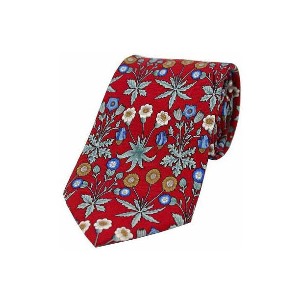 Red Base with Multi Coloured Flowers Luxury Silk Tie