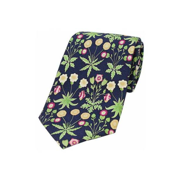 Navy Base with Yellow and Green Flowers Luxury Silk Tie