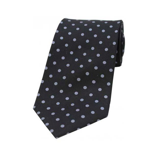Black with Grey Polka Dot Print Silk Tie