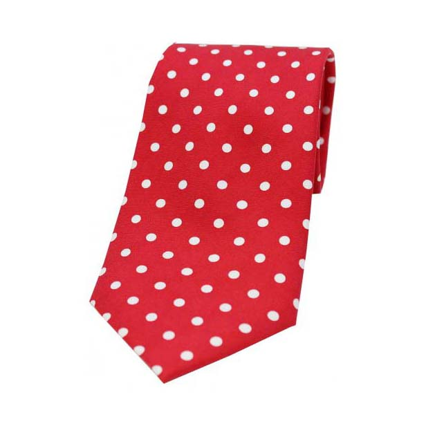 Red with White Polka Dot Print Silk Tie