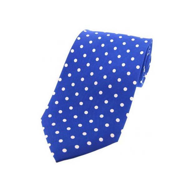 Royal Blue with White Polka Dot Print Silk Tie