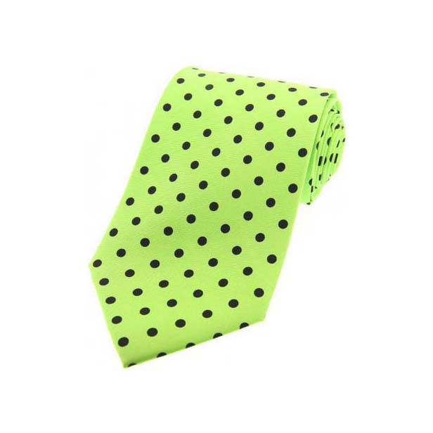 Lime Green with Black Polka Dot Print Silk Tie
