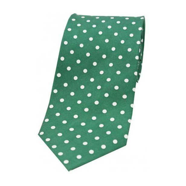 Green with White Polka Dot Print Silk Tie