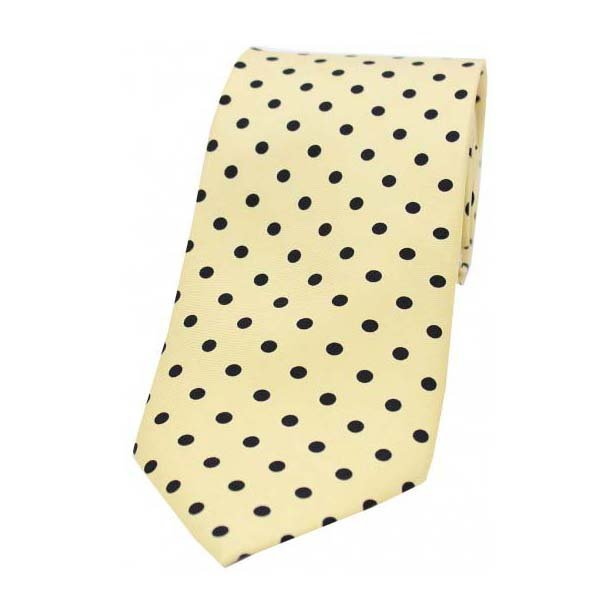 Yellow with Black Polka Dot Print Silk Tie