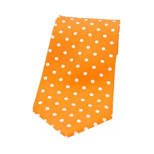 Orange with White Polka Dot Print Silk Tie