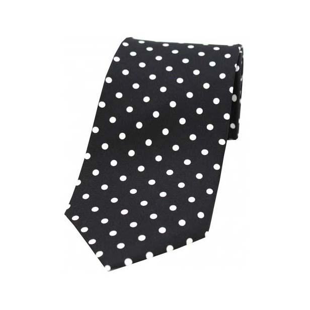 Black with White Polka Dot Print Silk Tie