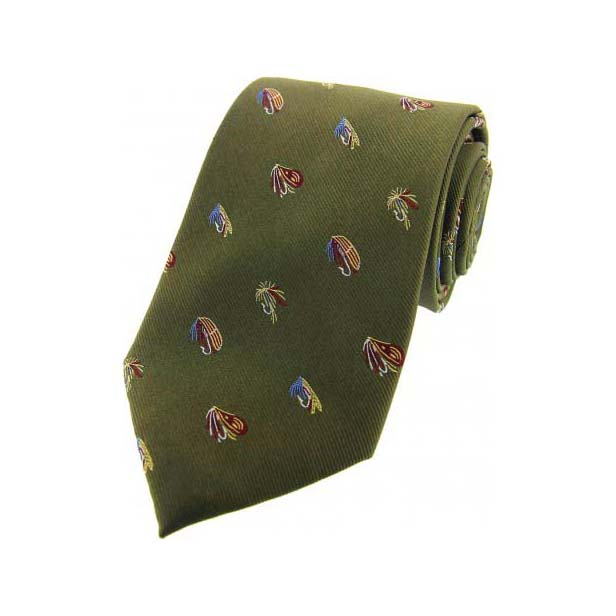 Fishing Flies on Country Green Country Silk Tie