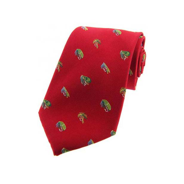 Fishing Flies on Red Country Silk Tie