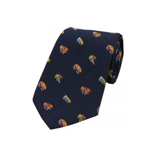 Fishing Flies on Navy Blue Country Silk Tie