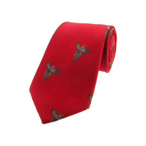 Flying Pheasants on Red Country Silk Tie