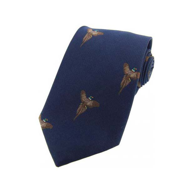 Flying Pheasants on Navy Blue Country Silk Tie